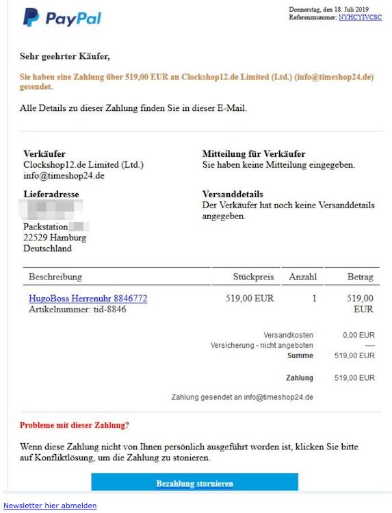 2019-07-19 Phishing PayPal Sie haben eine Zahlung gesendet