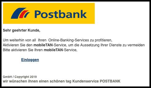 2019-08-01 Postbank Spam-Mail Wichtige Nachricht - mobile TAN