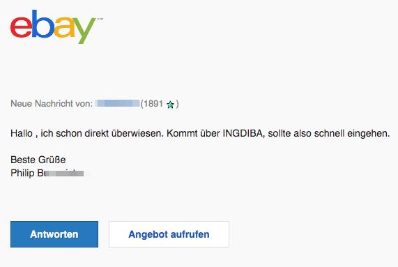 16.06.2019 eBay Spam-Mail hat eine Frage zu Artikel