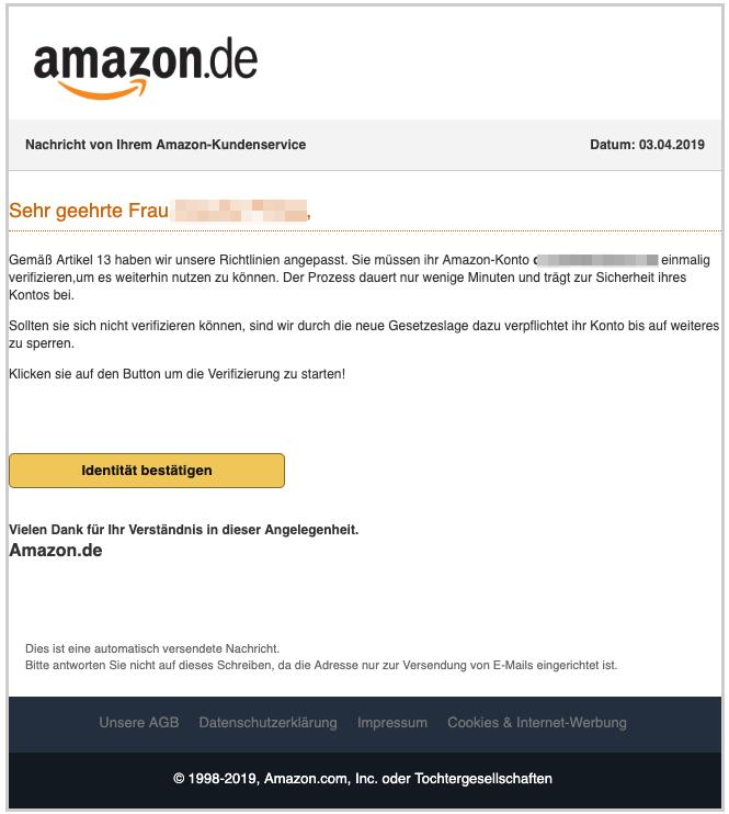 2019-04-04 Amazon Spam-Mail Ihr Handeln ist erforderlich