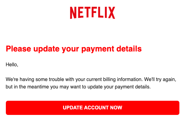 2019-04-04 Netflix Phishing-Mail Your Payment methode has been locked for security reasons