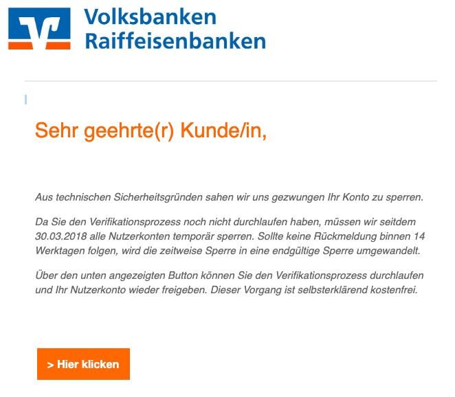 2019-04-04 Volksbank Spam-Mail Banking eingeschraenkt