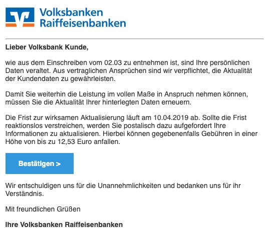 2019-04-04 Volksbank Spam-Mail Handlungsbedarf - Ihr Mitwirken ist erforderlich