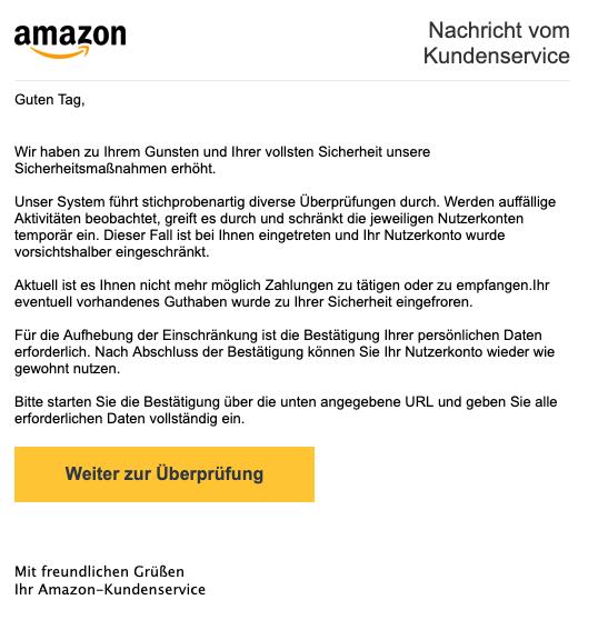 2019-04-09 Amazon Phishing-Mail Wichtige Mitteilung