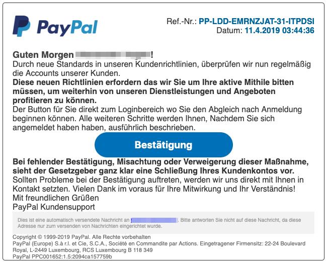 2019-04-11 PayPal Spam-Mail Wichtige Nachricht zu Ihrem Konto
