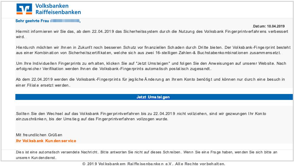 2019-04-11 Volksbank Fake-Mail Das neue Fingerprintverfahren