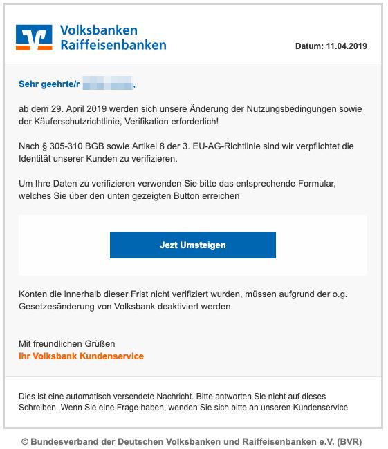 2019-04-12 Volksbank Fake-Mail Das Fingerprintverfahren