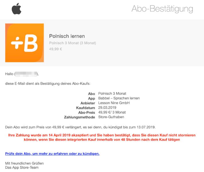 2019-04-13 Apple Abo Bestätigung Polnisch lernen App