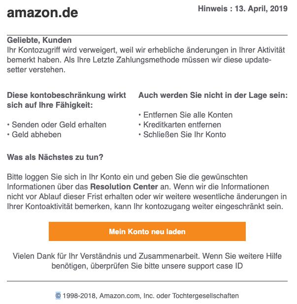2019-04-15 Amazon Spam-Mail Phishing Kundenmitteilung - Ihre Mithilfe ist erforderlich