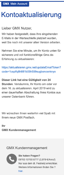 2019-04-15 GMX Spam-Mail GMX Account