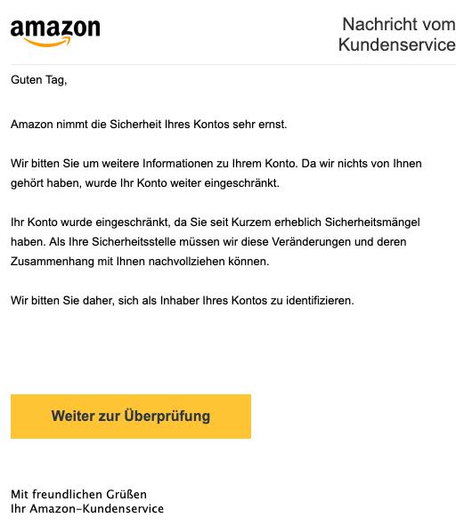 2019-04-16 Amazon SPam-Mail Wichtige Mitteilung