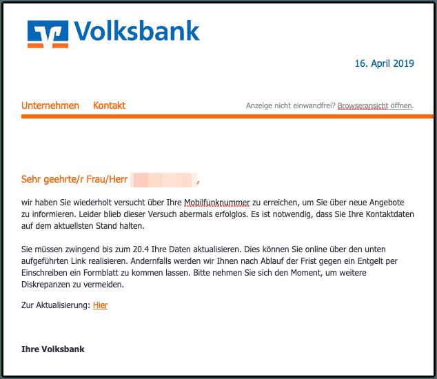 2019-04-17 Phishing Volksbank