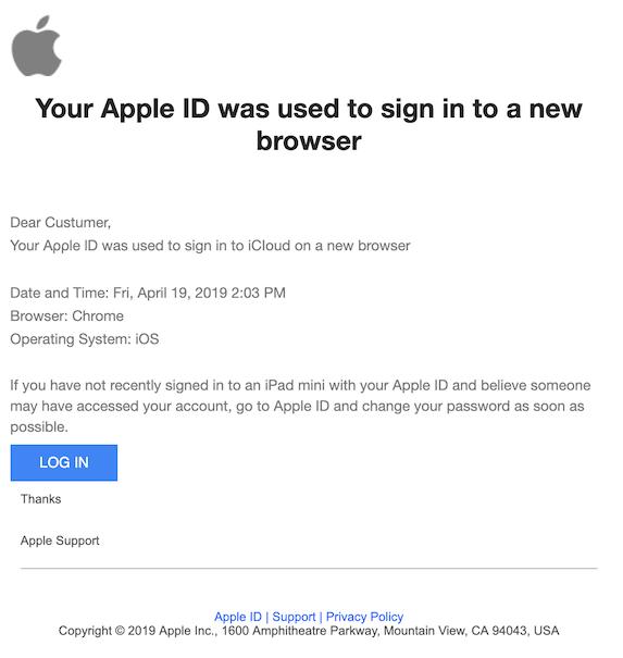 2019-04-19 Phishing Apple