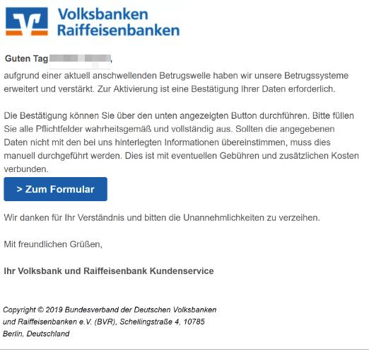 2019-04-19 Volksbank Spam-Mail VR - Bestätigung Ihrer Daten