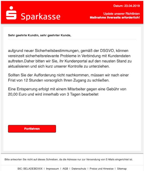 2019-04-23 Sparkasse Spam-Mail Neue Mitteilung