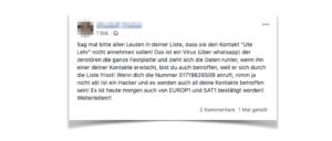 2019-04-25 Facebook Warnung vor Ute Lehr Fake Meldung