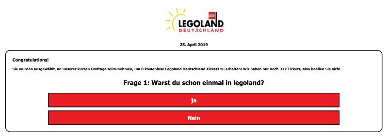 2019-04-25 Fake Seite Legoland Umfrage