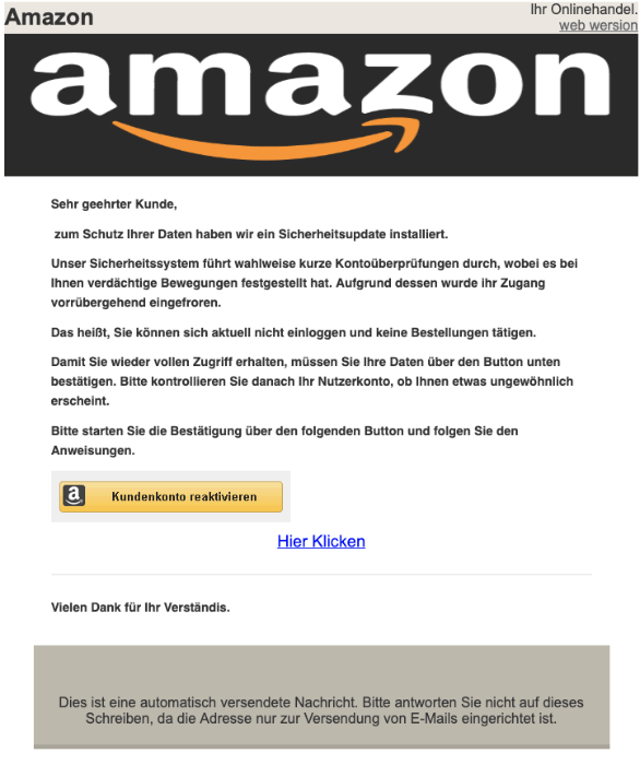 2019-04-26 Amazon Fake-Mail Aktuelle Information