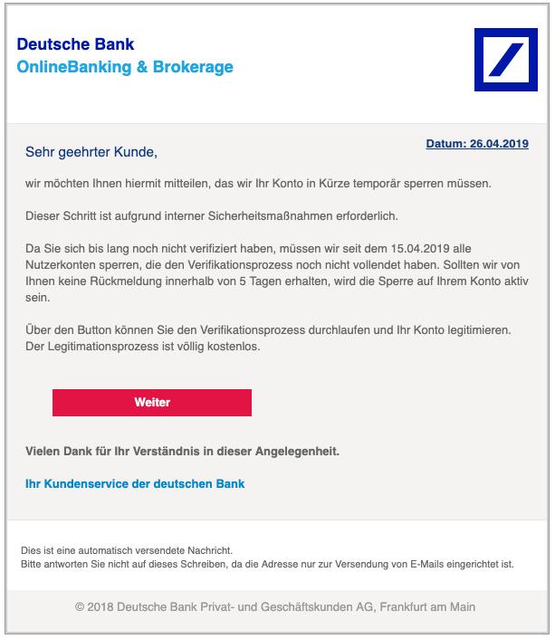 2019-04-26 Deutsche Bank Spam Phishing Mail Ihre Mithilfe ist erforderlich