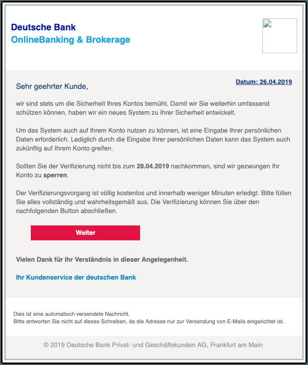 2019-04-26 Phishing Deutsche Bank