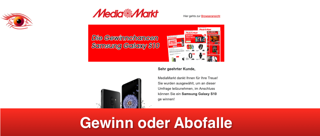 2019-04-27 MediaMarkt E-Mail Fake Gewinn Samsung Galaxy S10