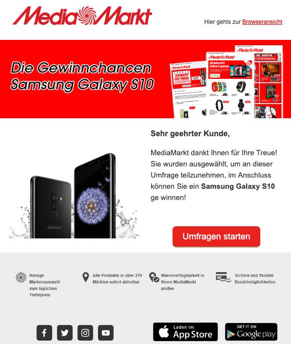 2019-04-27 MediaMarkt Fake-Mail Samsung Galaxy S10 Gewinn