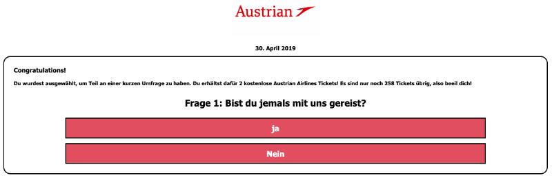 2019-04-30 Gefaelschte Websiete von Austrian Airlines mit Umfrage
