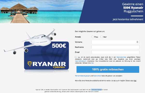 2019-04-30 Gewinnspiel 500 Euro Gutschein Ryanair