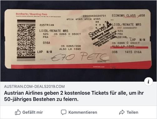 2019-04-30 Post auf Facebook zu Gratis-Tickets von Austrian Airlines