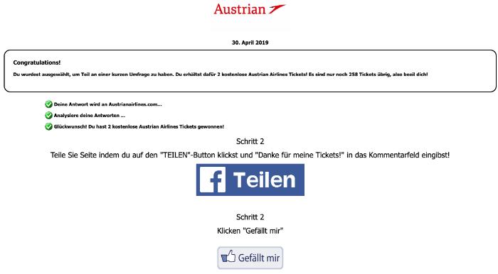 e03597811277fd Facebook  Austrian Airlines geben 2 kostenlose Tickets für alle - Echt