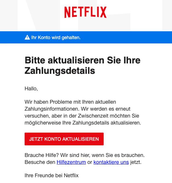 2019-05-02 Netflix Spam-Mail Update erforderlich - Netflix-Konto wird gehalten