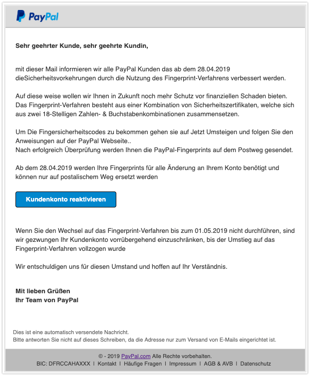2019-05-02 Phishing PayPal