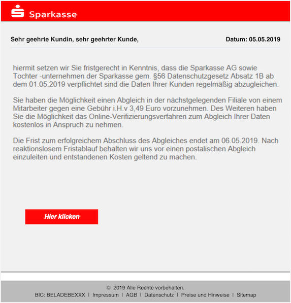 2019-05-06 Phishing Sparkasse 2