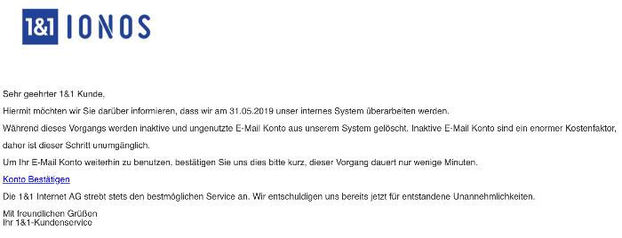 2019-06-02 1und1 IONOS Spam-Mail ungenutzte E-Mail-Konten