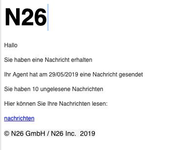 2019-06-03 N26 Spam-Nachricht