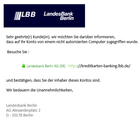 2019-06-09 LBB Landesbank Berlin Spam-Mail Fake