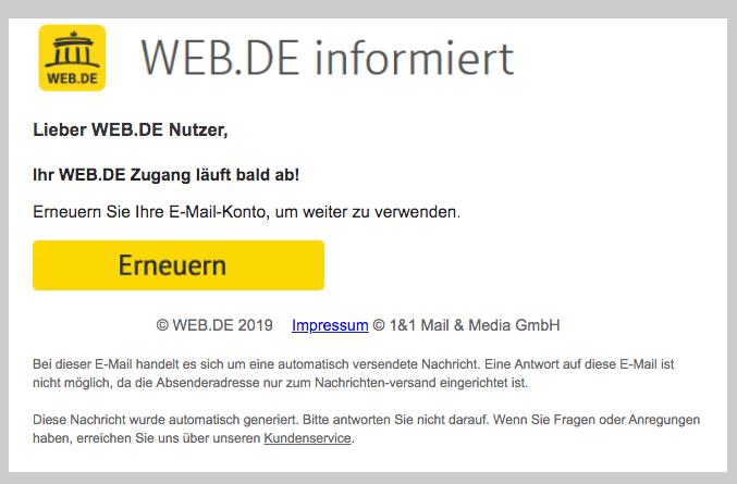2019-08-09 web-de Phishing-Mail Erneuern Sie Ihre E-Mail-Konto