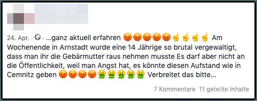Facebook Vergewaltigung Arnstadt