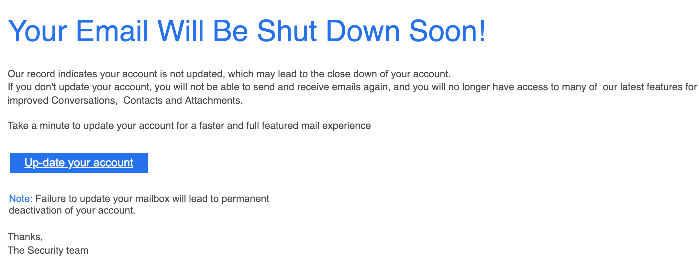 Microsoft Spam-Mail Your Email Will Be Shut Down Soon