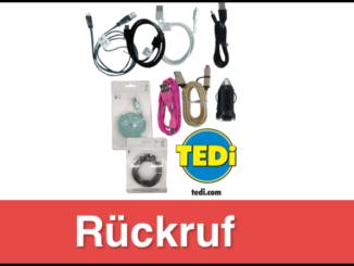 Rückruf TEDi Ladekabel und USB Adapter