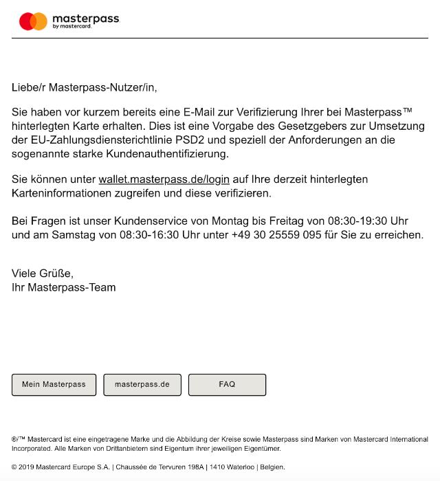 2019-05-05 Mastercard Masterpass E-Mail