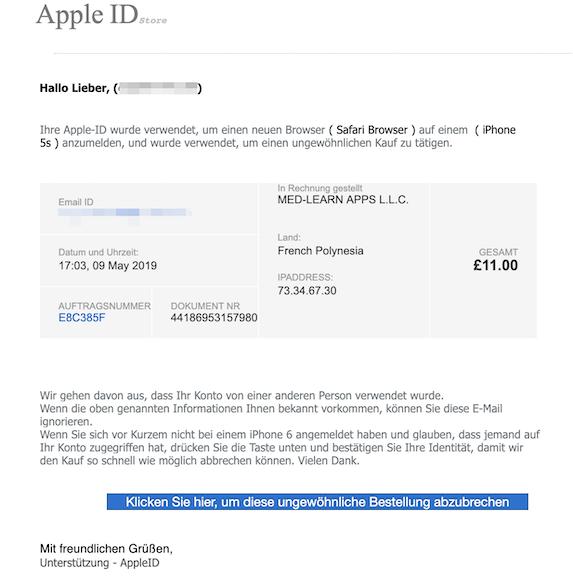 2019-05-09 Phishing Apple