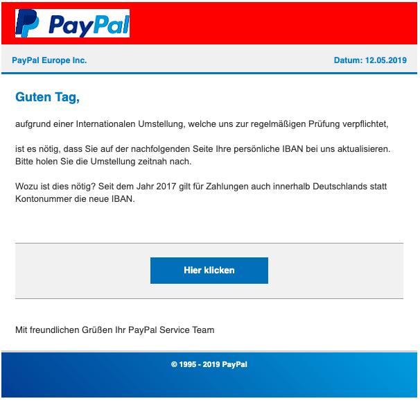 Spam Mail Von Paypal