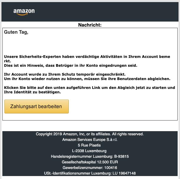 2019-05-14 Amazon Spam Mail Ihre Mithilfe ist erforderlich