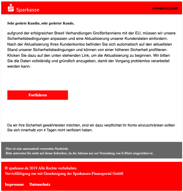 2019-05-14 Spam Mail Sparkasse Konto gefährdet