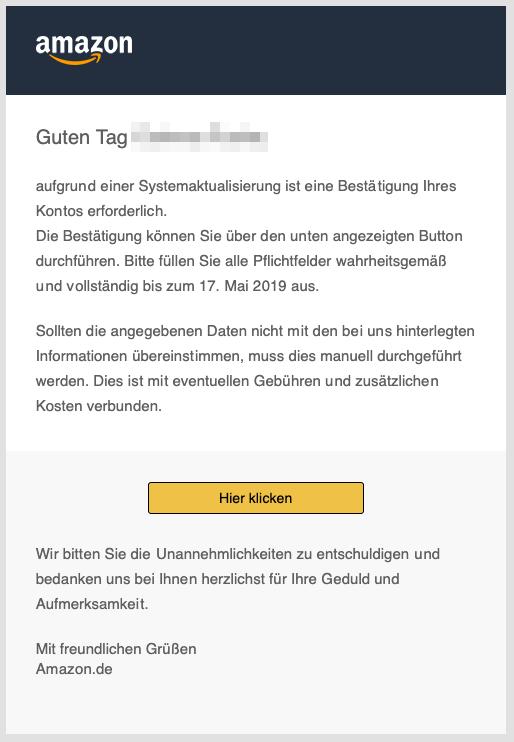 2019-05-15 Amazon Spam Mail Einschränkung Ihres Nutzerkontos