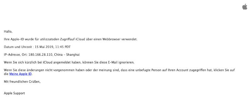 2019-05-15 Apple Spam-Mail Fake-Warnung Kontozugriff