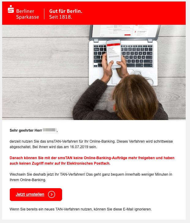 2019-05-15 E-Mail Berliner Sparkasse smsTAN-Verfahren abgeschaltet