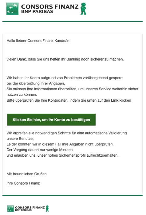 2019-05-16 Consors Finanz Spam Mail Ihr Konto wurde gesperrt