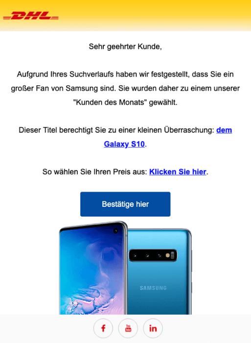 2019-05-19 DHL Spam-Mail Fake Ihr Paket wird in Kürze geliefert